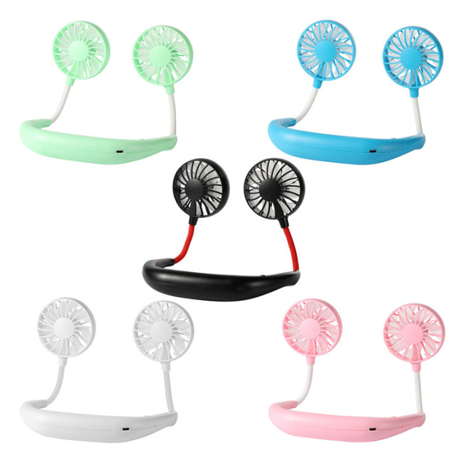 Mini Portable USB Rechargeable Outdoor Sports Lazy Hanging Neck Band Portable Fan