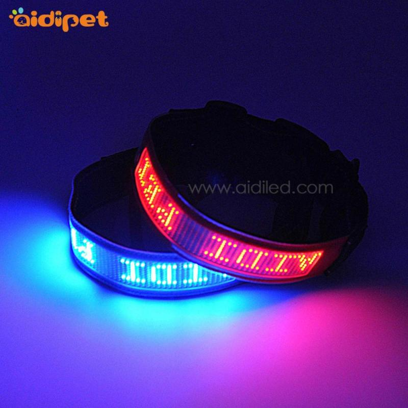 USB Rechargeable Blue Led Dog Collar Mobile Controlled Smart Pet Collar High Quality  Flashing Led Collar for Dogs