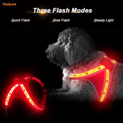 Comfort Durable Waterproof Rechargeable Nylon Soft Mesh Led Dog Harness