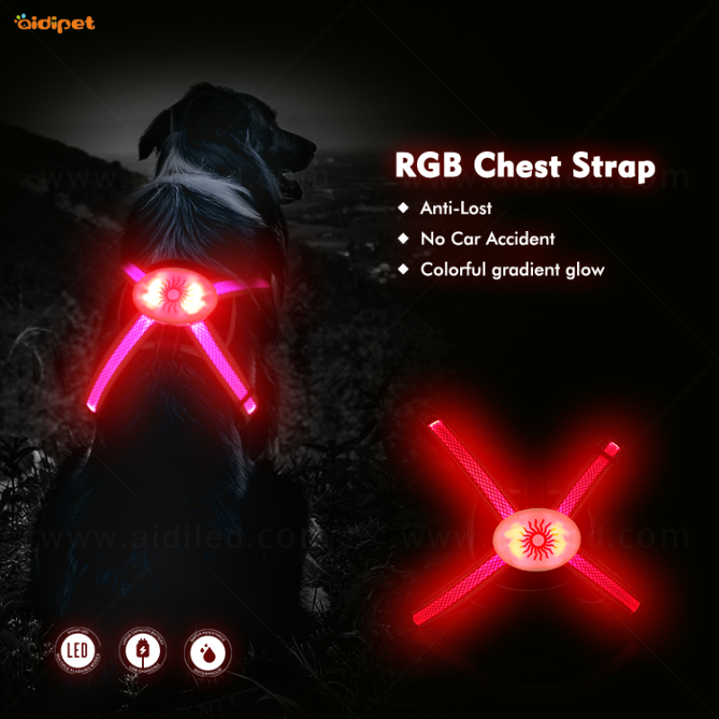 2020 New Rainbow Dog Harness 450mAh USB Rechargeable Light up Led Dog Harness Luminous Pet Supplies Led Harness for Doggy