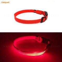 Nylon Reflective Dog Collar with Led Light High Quality Reflective Stitching  Pet Night Safety
