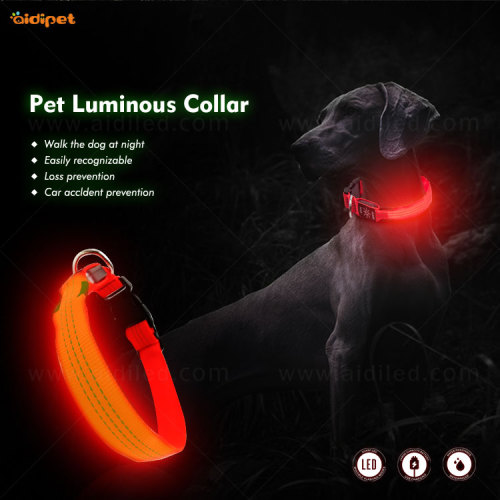 Nylon Reflective Dog Collar with Led Light High Quality Reflective Stitching  Pet Night Safety