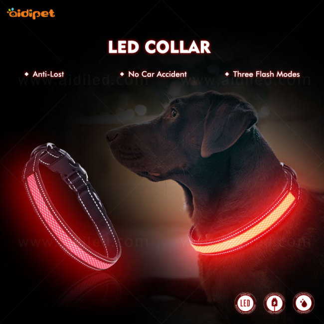 LED nylon and mash USB Rechargeable Light Led Dog Collar with several shapes