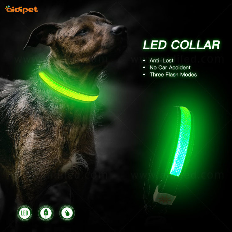 Hot Selling Rechargeable Led Dog Collar Night Walking Customized Logo Pet Collar Nylon Safety Luminous Collar for Dogs