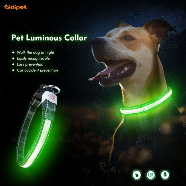 Pet Night Safety Guard Solid Color Nylon Collar no MOQ