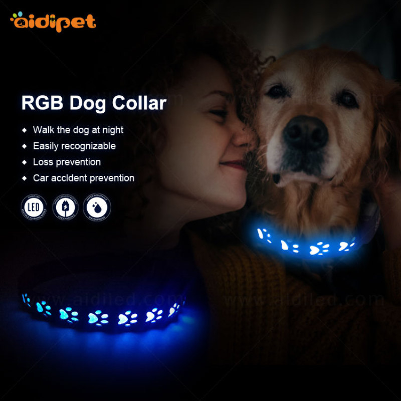 manufacturer wholesale custom rechargeable waterproof  led dog collar for pet
