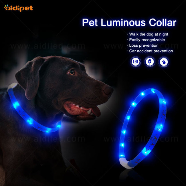 606421633461/6 LED Lights Dog Pets Collars Adjustable silicone dog collar