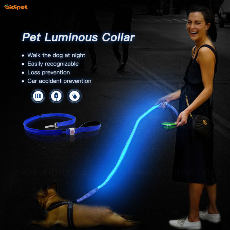 AIDI Solid Color Glow In the Dark Dog Leash Red Vlue Green Light Up Dog Collar Leash Lead
