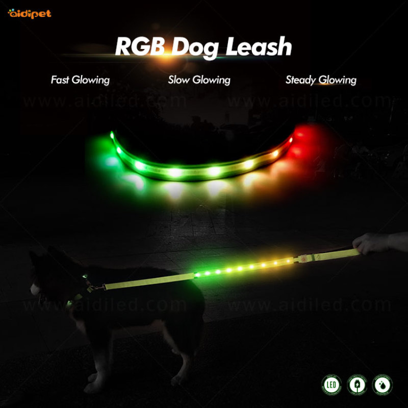 RGB Blink Colorful Led Pet Leash for Dogs Very Cool Pet Supplies Fish Silk Cover Light Up Lead 120cm Length