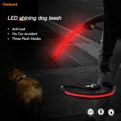 Soft Bungee Handle Glow in The Dark Dog Leash for Night Walks Adjustable Dog Leash Night Safety No Accident Lead with led