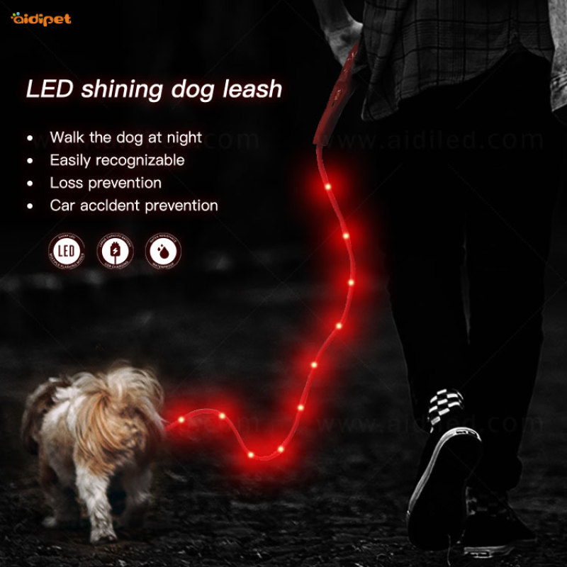PVC LED Round Dog Leash with USB Rechargeable Cable Best Selling in Pet Supplies Led Dog Leash Flashing
