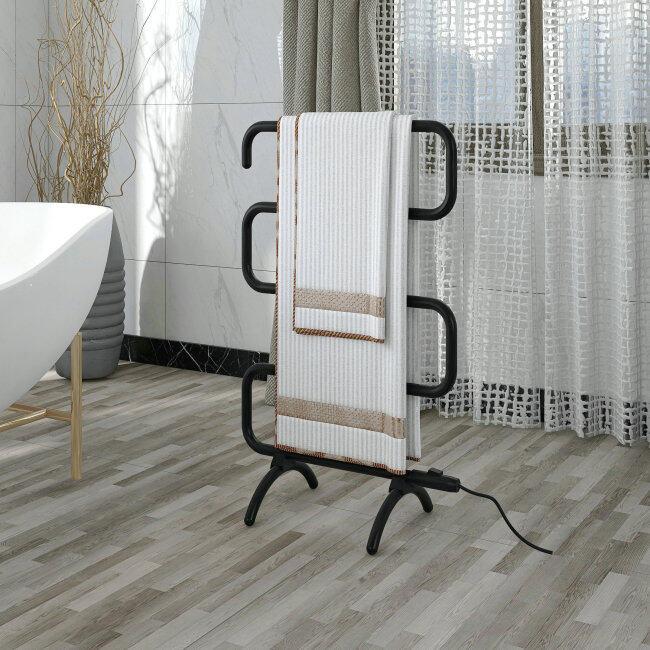 EVIA Bathroom Accessories Black Heated Towel Rack For Bathroom