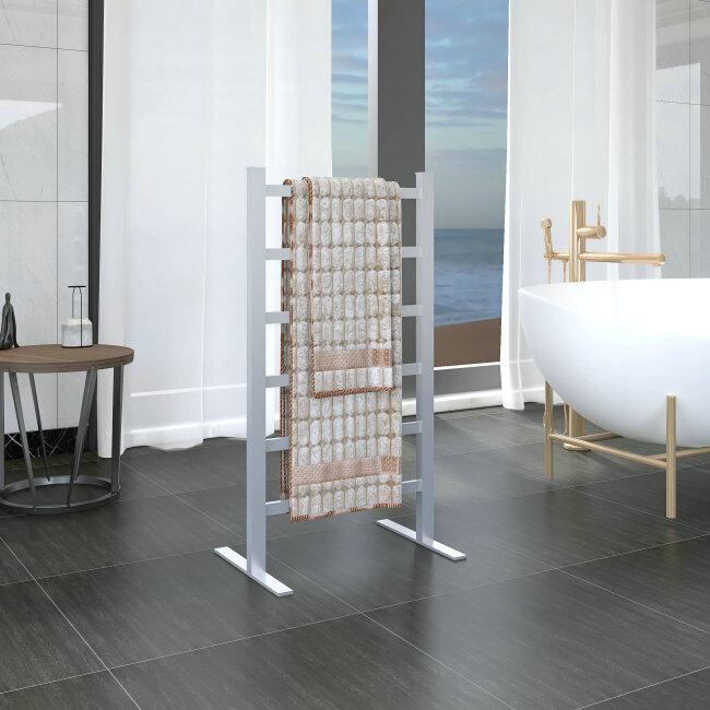 EVIA Bathroom Silver Floor Standing Electric Heated Towel Warmer Rack Dryer