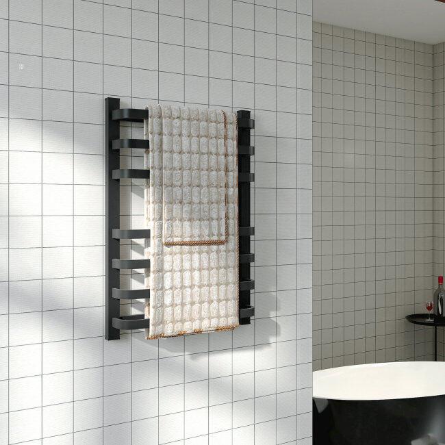 EVIA Bathroom Wall Mounted Electric Heated Towel Rail Black Towel Warmer