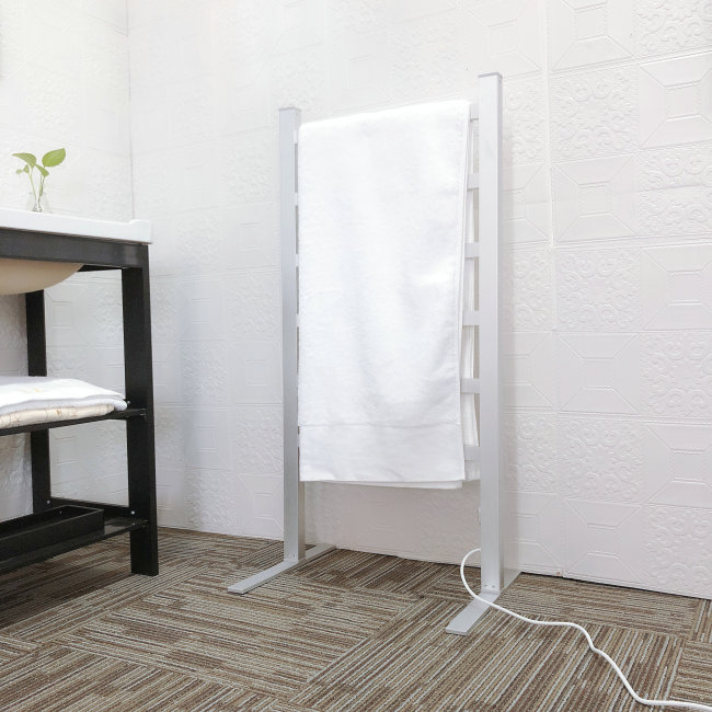 EV-120-2 Bathroom Ladder Aluminum Silver Towel Warmer Floorstanding Electric Heated Towel Rail