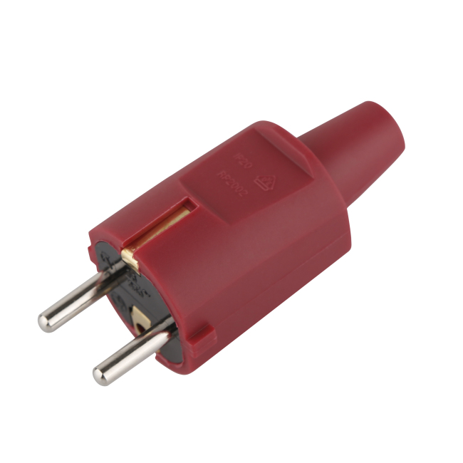 Ip20 16A 250V Ac Schuko Rewireable Male Electrical Plug