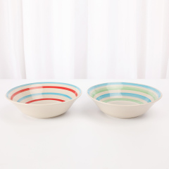 "Custom Printed Colorful 9"" Ceramic Stoneware Dinnerware Bowl for Sale"