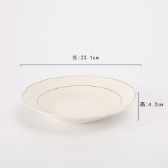 "Wholesale Restaurant Home Uesd 9"" Ceramic Soup Plate With Silver Line"