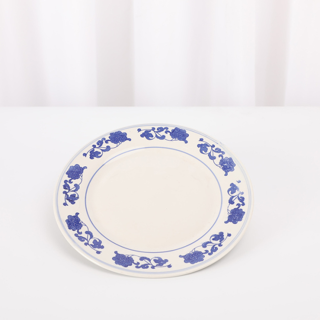 "Cheap Price 10"" Flower Decal Flat Plate Ceramic Serving Plate in Stock"