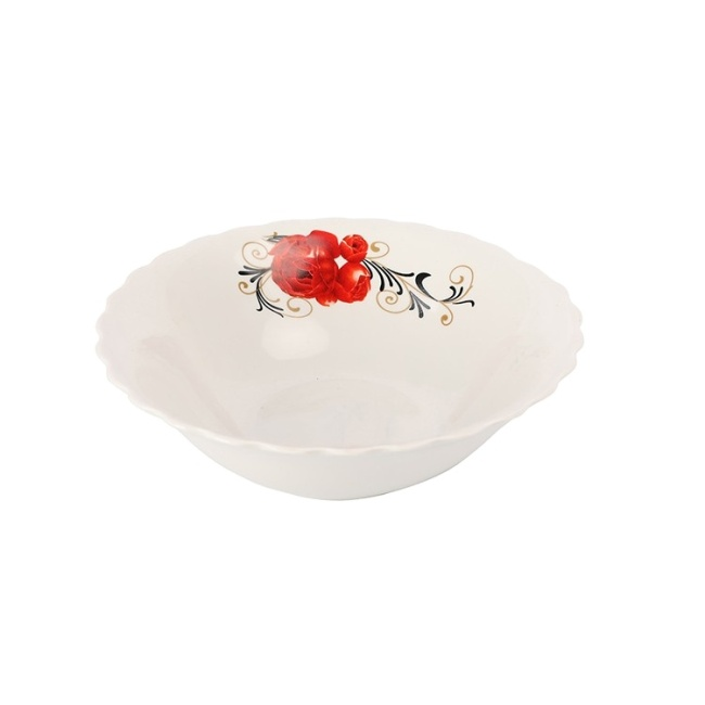 "9"" Decal White Ramen Bowl Ceramic Bowl with Customized Flower"