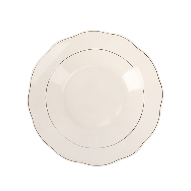 "8"" Restaurant Home White Ceramic Soup Plate with Double Silver Line"