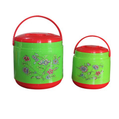 Set of 2 Pcs Stainless Steel Plastic PP Lunch Jar Food Warmer Container