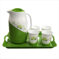 Set of 6 Pcs 1.7L Plastic Water Jug with Cups Plastic Pitcher Jug Sets