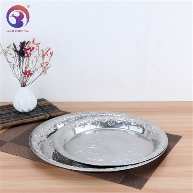 European Stainless Steel Dishes Kitchen Plate With Lid