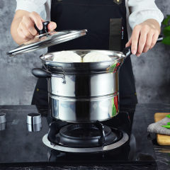 High Quality Kitchenware Stainless Steel Noodle Pot with Steamer Colander Kitchenware Noodle Pot