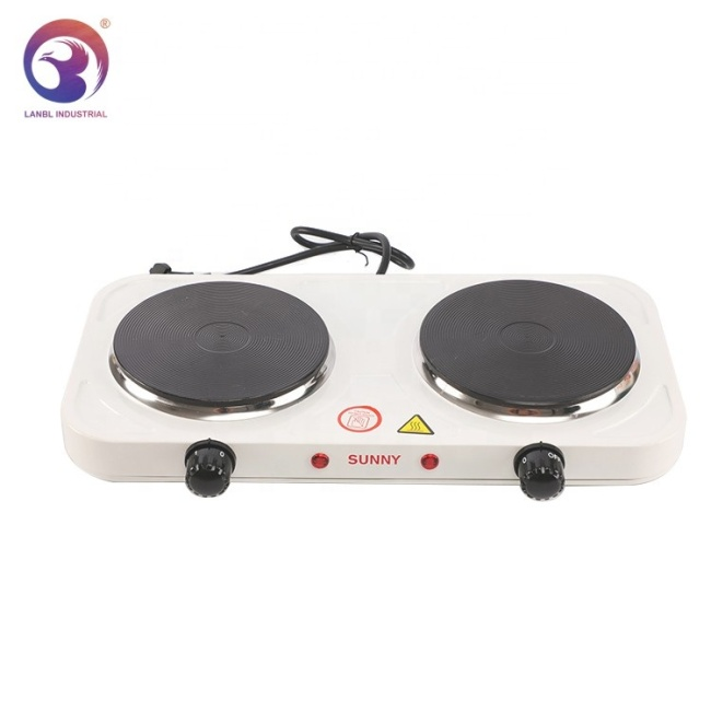 Hot Sale 2000w Double Burner Solid Hotplate Electric Stove for Food Cooking
