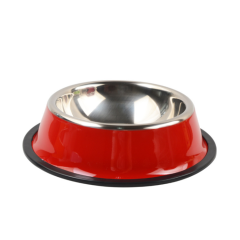 Hot Sale Color Printed Rubber Bottom Metal Stainless Steel Pet Dish/ Pet Feeder/Dog Bowls