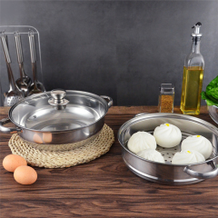 Hot Sale Korean Japanese India 2 Layers Stainless Steel Steamer Cooking Pot with Factory Price