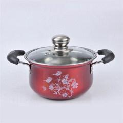 Red Painting 4 Pcs Set Stainless Steel Hot Pot Casserole Set