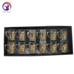 Royal Arabic Wholesale High Quality 12pcs Sets Glass Cups Set Tea Sets with Gold Decal Design