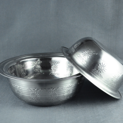 Stainless Steel Indian Big Basin African Washing Basin with Stamp Pattern