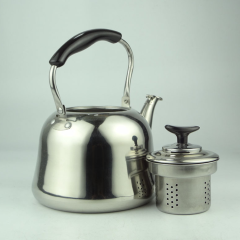 Stainless Steel Mirrored Polished Double Wall Insulated Teapot Coffee Kettle with Strainer