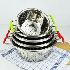 Stainless Steel Washing/Drain Basket Rice Sieving Multi-use Fruit Basket