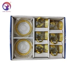 Wholesale  Glass Gold Cups and Saucers Arabic Tea Cup Set Glass Coffee Cup Saucer Set