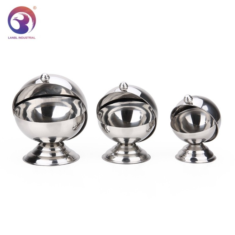 Wholesale Metal Stainless Steel Sugar Bowl with Flip Cover Lid for Home and Kitchen