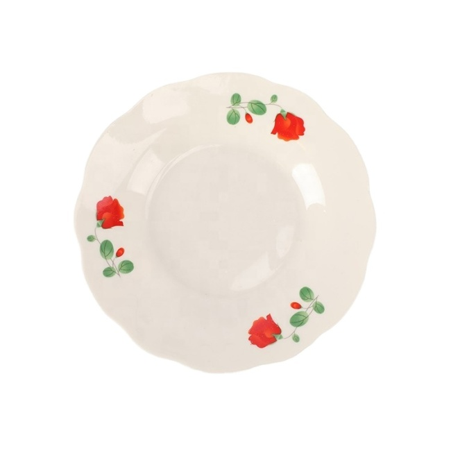 "Cheap 7"" Dinner Set Ceramic Porcelain Tableware Decal Deep White Soup Plate"