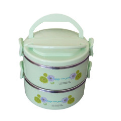 Top Sale 2Layers Plastic Stainless Steel 1.3L Hot Pot Food Warmer Container