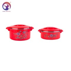 Set Of 2 Pcs Round  Stainless Steel Lunch Box Thermos Bowl Food Container