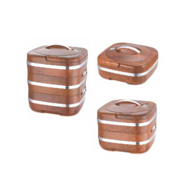 Square Shape Portable 2 Layer Insulated Portable Food Storage Box Stainless Steel Food Container Lunch Box Hot Pot