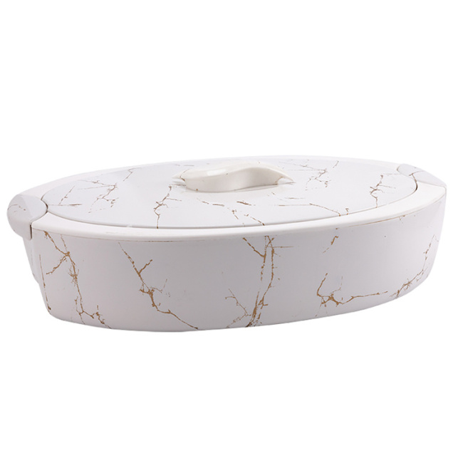 High Quality Portable Insulated Plastic Casserole Hot Pot Marble Design Food Warmer Container with Glass Inner