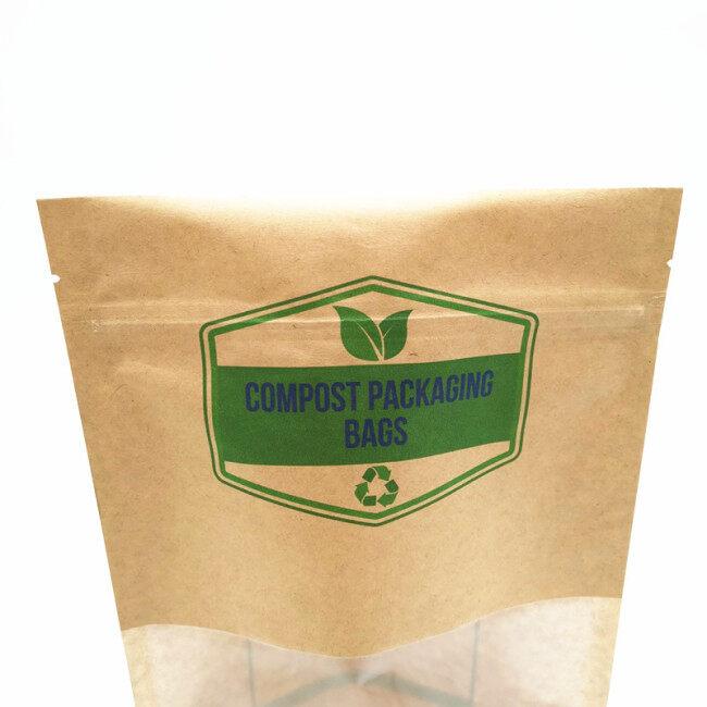 Eco-friendly bio Nuts Packaging plastic  zipper self sealing plastic biodegradable bag