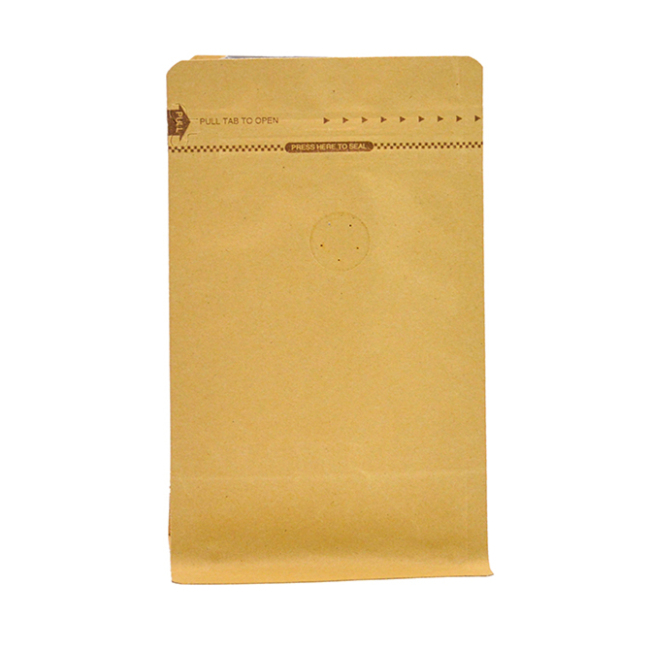 Manufacturer Wholesale Brown Kraft Paper Bags Coffee Bags with Valve Pull Tab Zipper