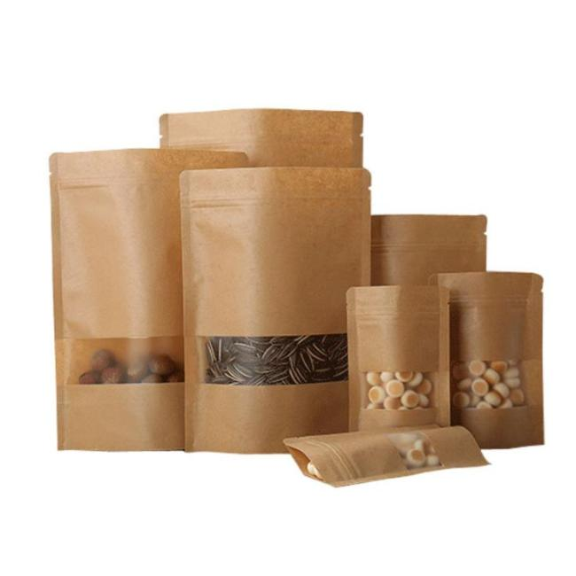Eco Friendly kraft Paper bag brown Stand up pouch Doypack with clear window