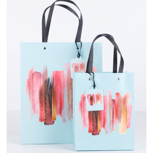 White Cardboard Gift Bag Abstract Art Pack 100