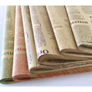Traditional English Kraft Newspaper Flower Wrapping Paper Pack 45