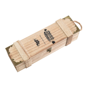 Single Bottle Wooden Wine Box With A Handle